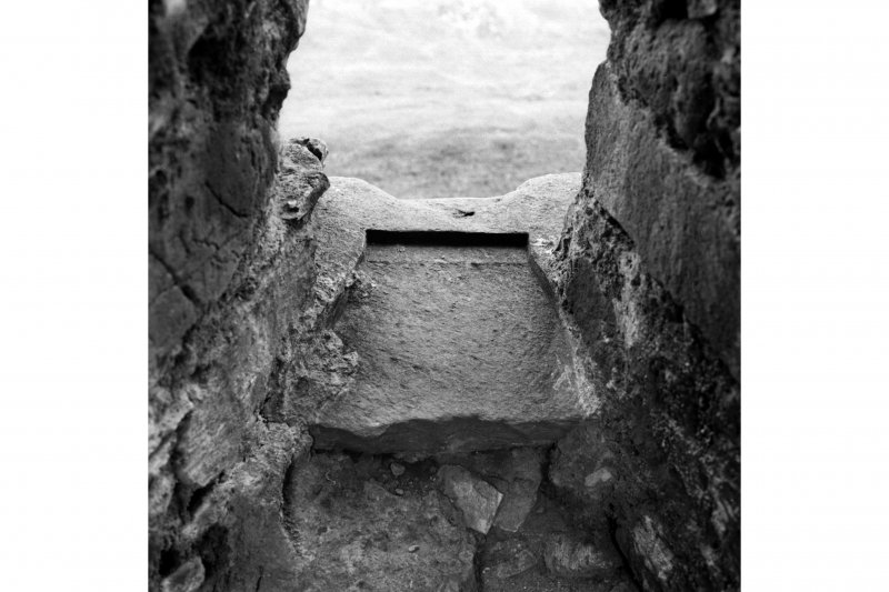 Castle Sween.  Detail of sill of window in East wall at ground floor level of Kitchen tower.