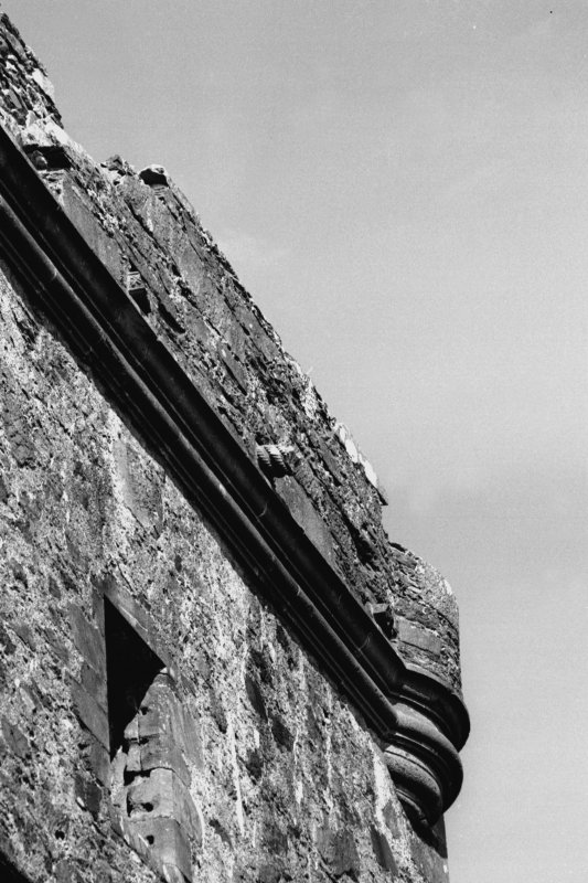 Carnasserie Castle. Detail of South wall parapet details on main tower.
