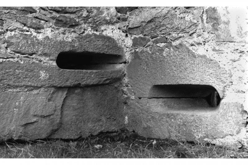 Carnasserie Castle, interior. Detail of gun ports in North-East re-entrant angle.