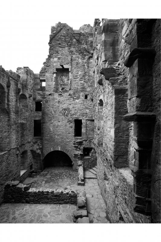 Carnasserie Castle, interior. General view of hall range from East.