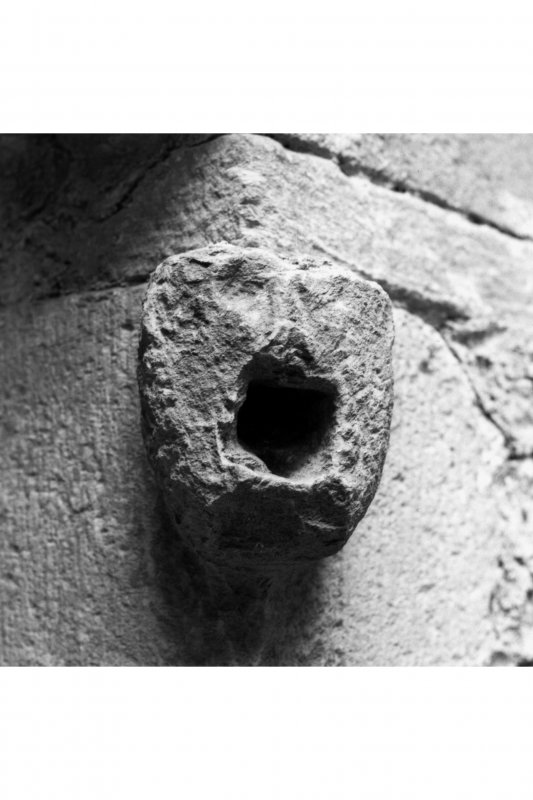 Carnasserie Castle, interior. Detail of carved water inlet in ground floor kitchen fireplace.