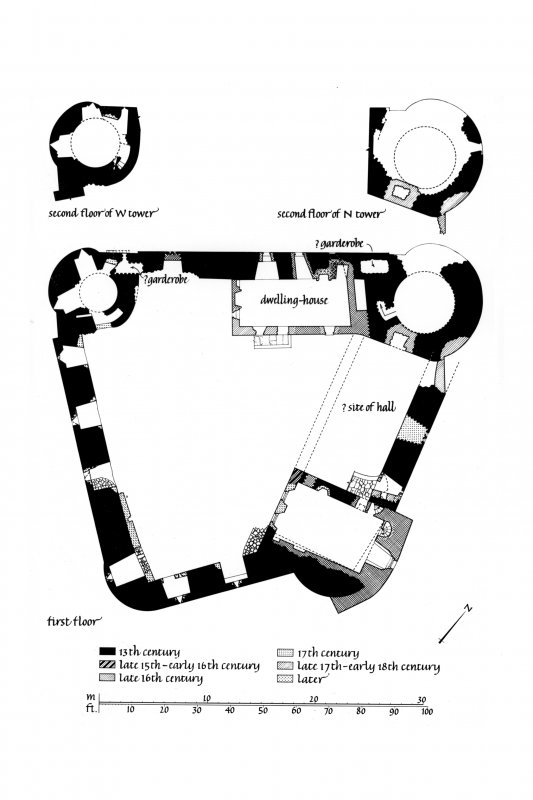 Plans of First Floor, Second Floor of West Tower and Second Floor of North Tower Lorn Inv. fig. 181