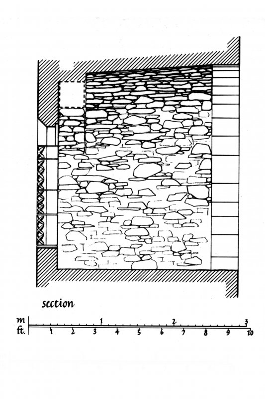 Exterior Elevation, Section and Plan of South window embrasure in East curtain wall of Dunstaffnage Castle u.s.  u.d. Lorn Inv. Fig. 184