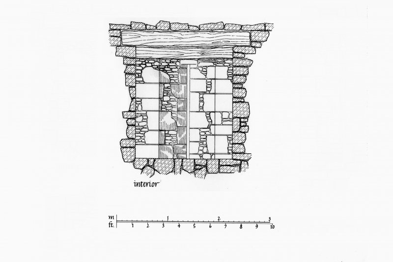 Interior and Exterior Elevations, Section and Plan of Arrow slit in West tower, partly reconstructed Lorn Inv. Fig. 186