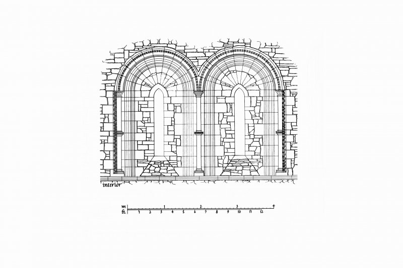 Interior Elevation, Plan and Section of North and South Chancel windows, partly reconstructed u.s.   u.d. Lorn Inv. Fig. 117