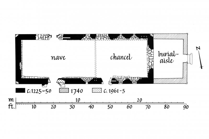 Floor Plan of chapel showing building dates u.s.   u.d. Lorn Inv. Fig. 114