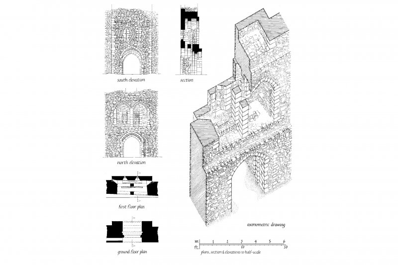 Skipness; reconstruction drawings of gatehouse