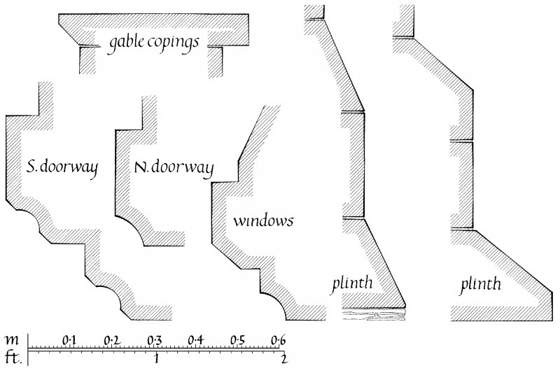 Details of profile mouldings -gable copings, South and North doorways, windows and plinths u.s.   u.d.