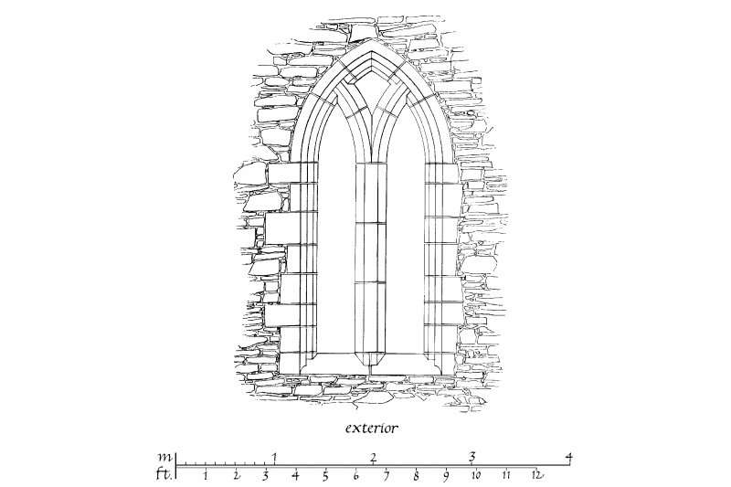 Interior and Exterior Elevation, Section and Plan of East window u.s.   u.d.