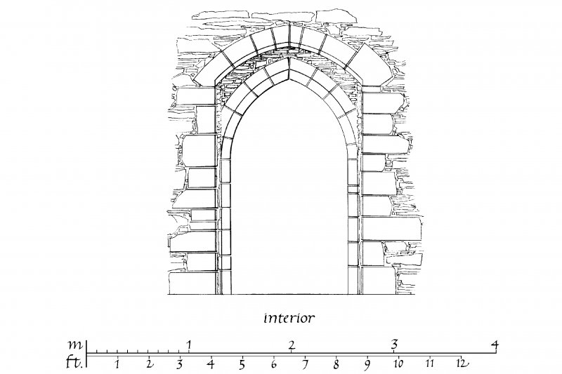 Interior and Exterior Elevation, Section and Plan of South Doorway u.s.   u.d.