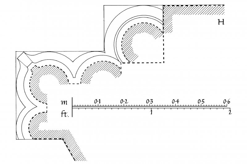 Details of profile mouldings of North and South Chancel windows, capital of South Chancel window, hood-mould of South Nave doorway, label-mould of South Chancel window, East Chancel windows, base of North doorway and angle-shaft u.s.   u.d. Lorn Inv. Fig. 116