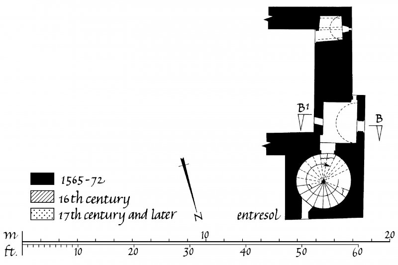 Carnasserie Castle. Plans of Parapet, Entresol, Ground, First, Second and Third Floors. Insc: 'GPS 15.iii.90'.