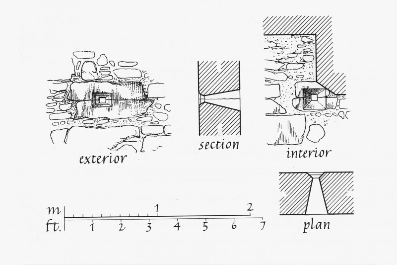 Carnasserie Castle. Exterior and Interior Elevations, Section and Plan of gun-ports and pistol loops in East wall of East tower. Insc: 'GPS   15.iii.90'.