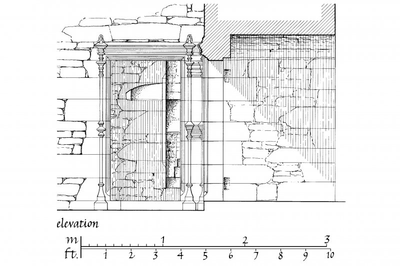 Carnasserie Castle. Plan and Elevation of doorway in North-East angle of hall. Insc: 'GPS  15.iii.90'.