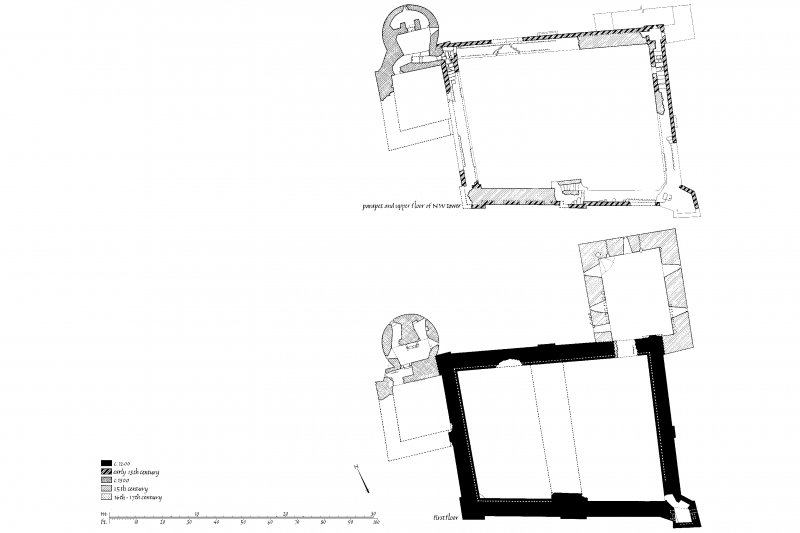 Castle Sween. Plans of First Floor, parapet and upper floor of North-West tower.