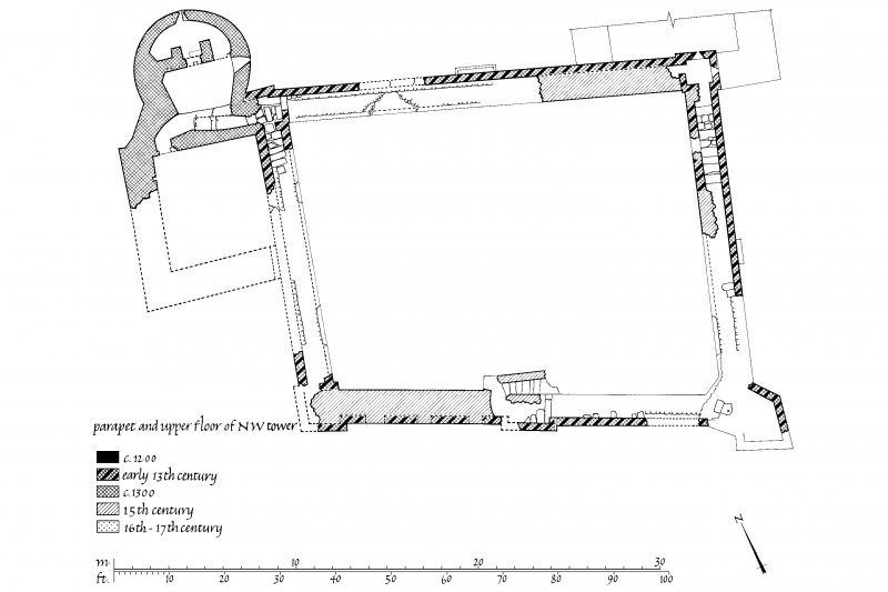 Publication drawing. Castle Sween; phased plan of parapet and upper floor of North-West tower.