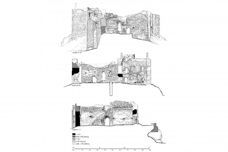 Publication drawing. Castle Sween; sections.