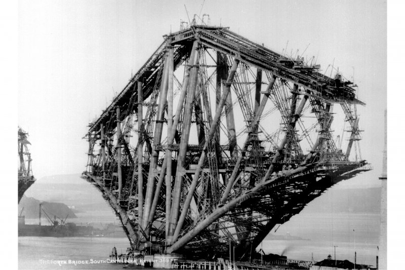 View of the South cantilever under construction. Insc. 'The Forth Bridge. South Cantelever. Height 369 Ft.'
