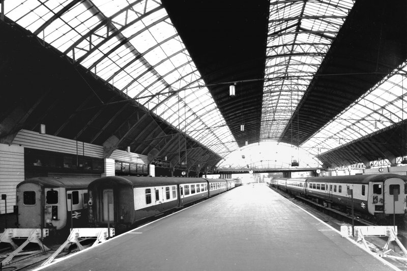 Interior. General view of train shed from S.