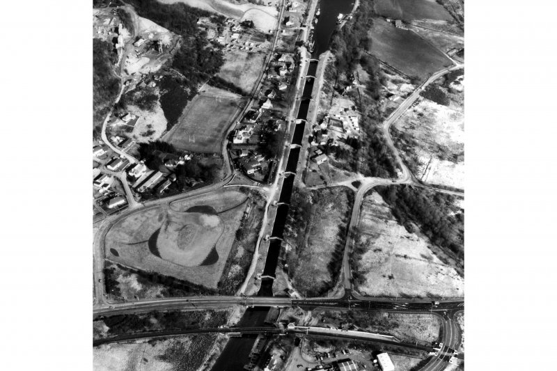 Scanned image of oblique aerial view of Neptune's Staircase, Banavie Swing Bridge and Banavie Railway Swing Bridge