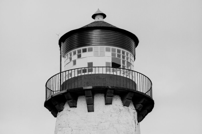 Detail of balcony and light room, Southerness lighthouse.