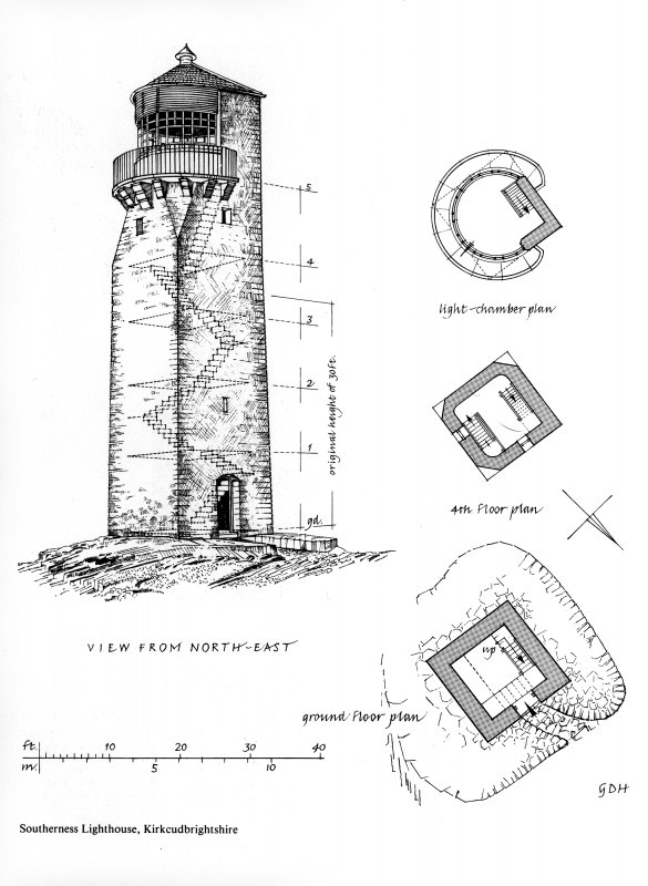 Perspective view and floor plans, Southerness Lighthouse.