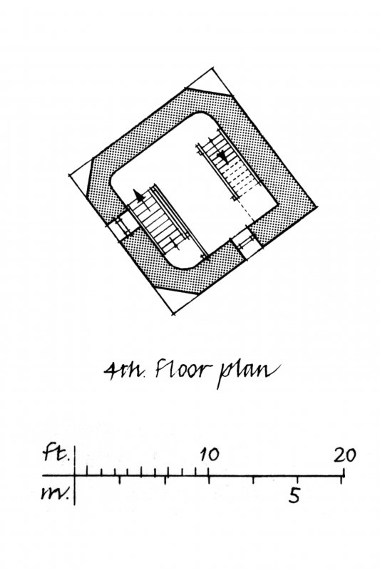 Perspective view and floor plans.