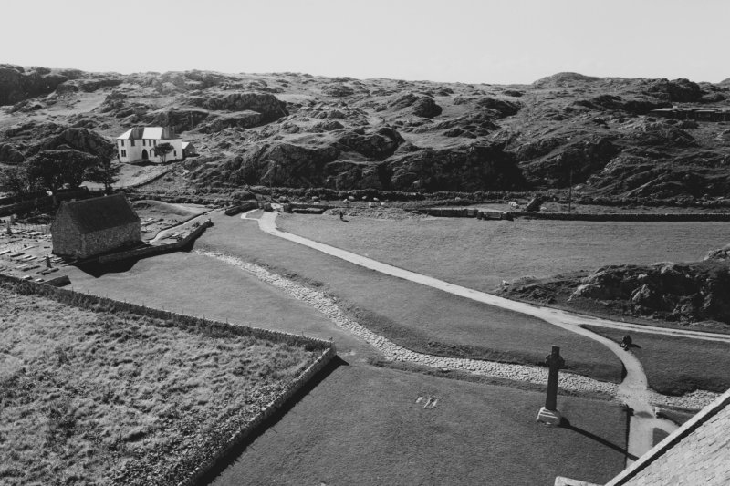 Iona, Iona Abbey. View of 'Street of the Dead' from abbey tower.