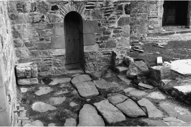 Iona, Iona Abbey. View of Early Christian slabs in pavement outside St Columba's Cell.