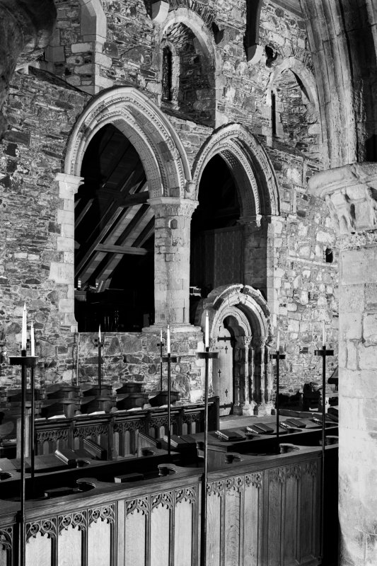 Iona, Iona Abbey, interior. View of sacristy from South choir aisle.