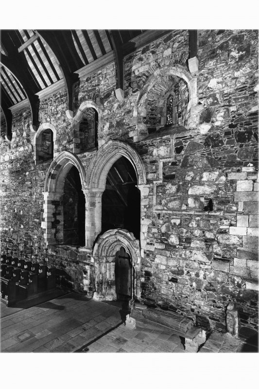Iona, Iona Abbey, interior. View of choir North wall from South-East.