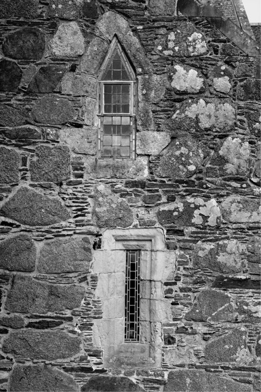 Iona, Iona Abbey. View of Sacristy windows in East gable.