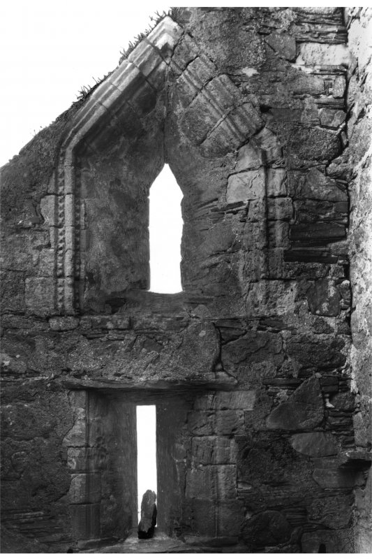 Iona, Iona Abbey. View of North choir aisle in East wall.