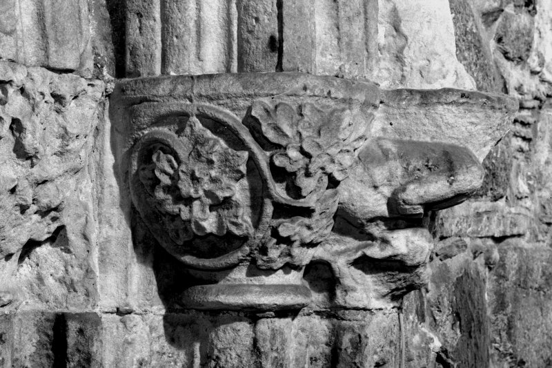 Iona, Iona Abbey, interior. View of sacristy doorway showing capitals on East.