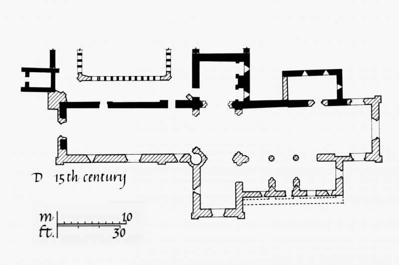 Iona, Iona Abbey. Photographic copy of plan showing the development c.1200 AD to 1638.