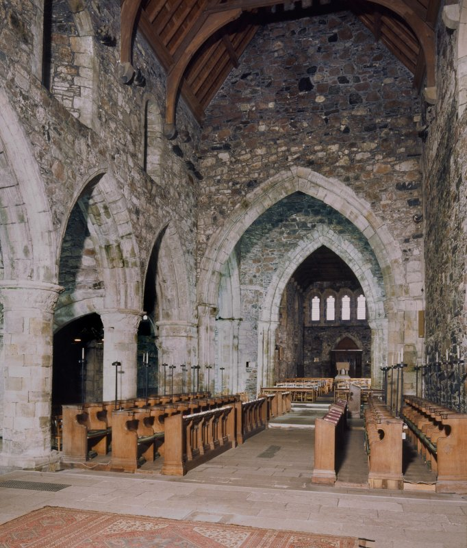 Iona, Iona Abbey, interior. View of choir from East.