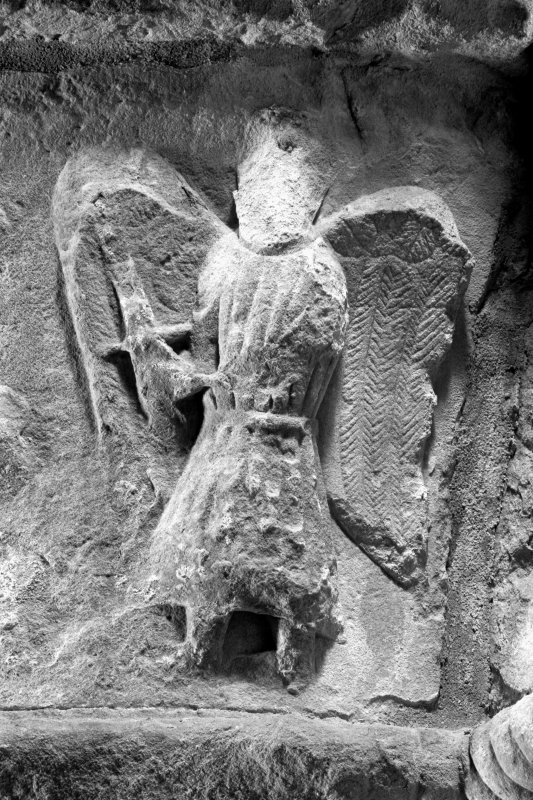 Iona, Iona Abbey, interior. View of South choir-aisle, arch capital & detail of angel bearing sword from the Expulsion from Eden scene.