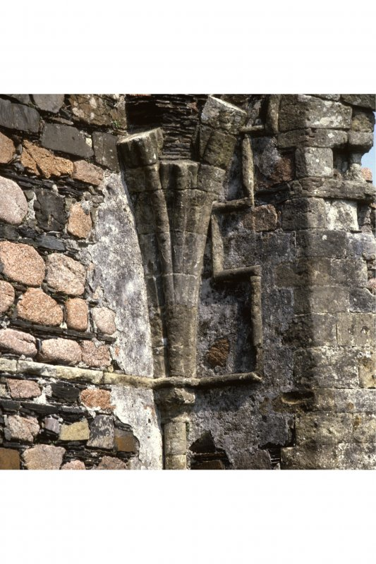 Iona, Iona Nunnery.  View of capital and vaulting springer in North-East angle of chancel.