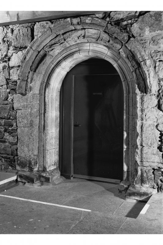 Iona, Iona Abbey. View of cloister showing doorway of chapter house.