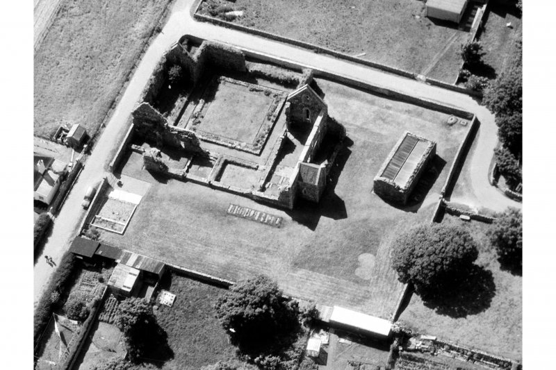 Iona, Iona Nunnery.  Oblique aerial view from East.