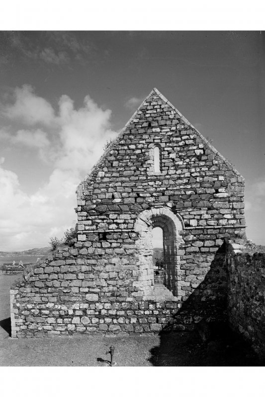 Iona, Iona Nunnery. General view of West gable from West.