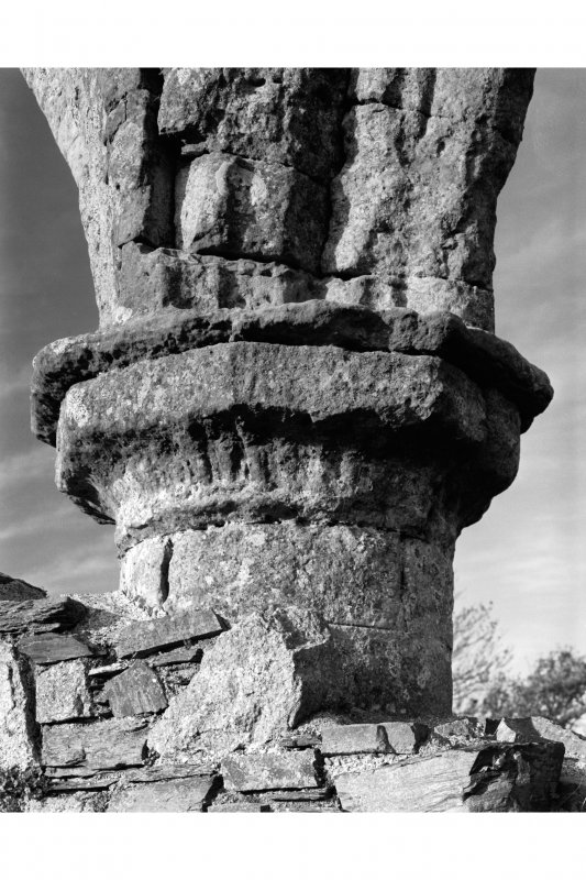 Iona, Iona Nunnery. View of sculptured capital on West column of nave-arcade.