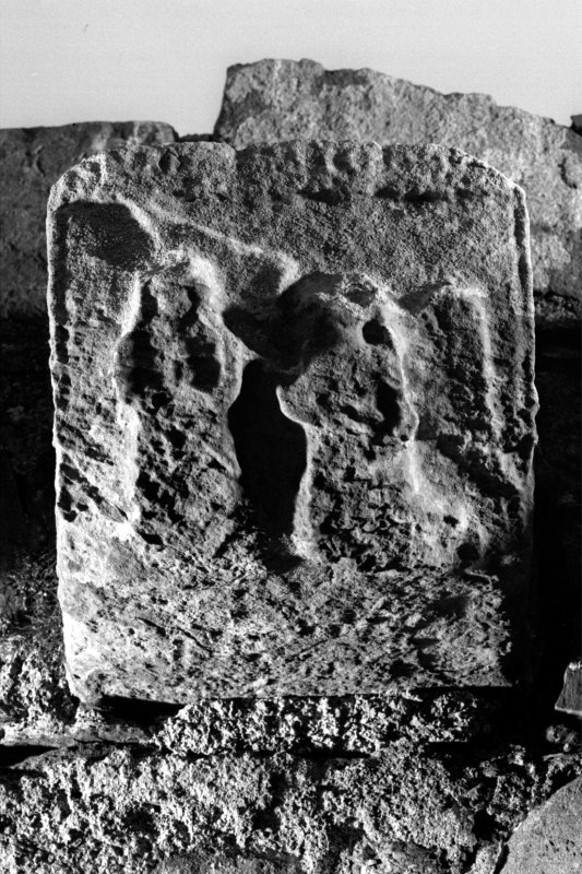 Iona, Iona Nunnery. Detail of carved corbel on South wall showing the Annunciation.