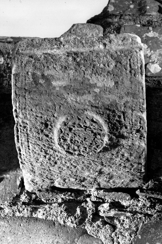 Iona, Iona Nunnery. Detail of carved corbel on South wall of nave showing a rosette ornament.