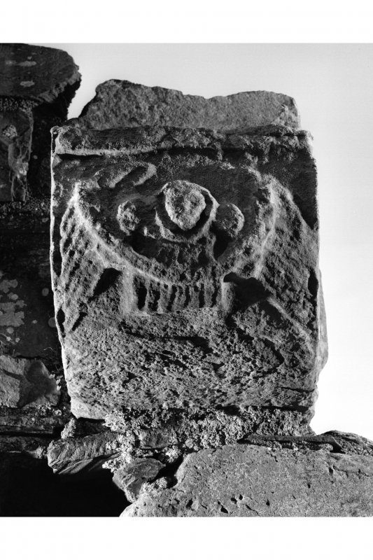 Iona, Iona Nunnery. Detail of carved corbel on South wall of nave picturing an angel bearing a scroll.