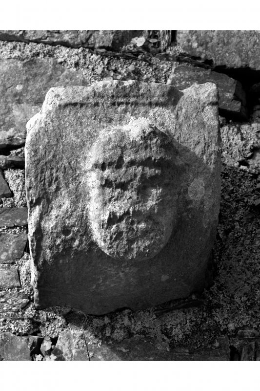 Iona, Iona Nunnery. Detail of carved corbel on South wall of nave showing a human head.