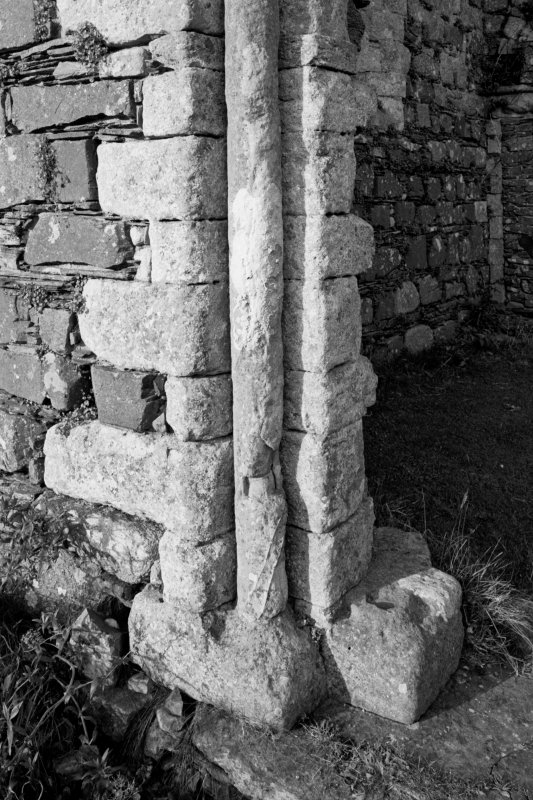 Iona, Iona Nunnery.  View of South nave doorway showing tenoned shaft.