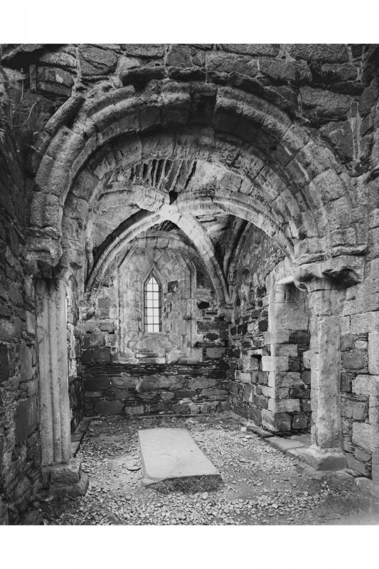 Iona, Iona Nunnery, interior. View of North aisle chapel from West.