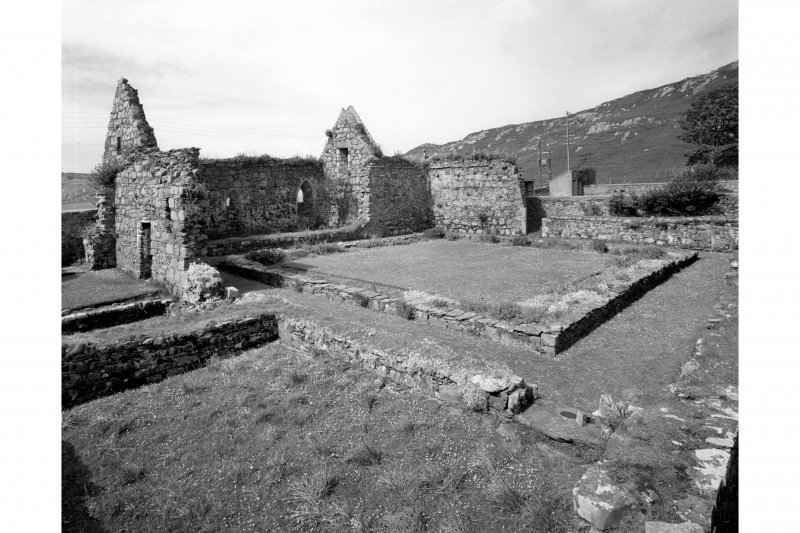 Iona, Iona Nunnery.  View of Cloister and refectory from North-East.