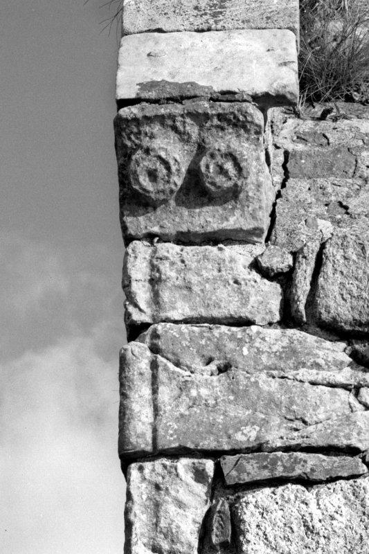 Iona, Iona Nunnery. Detail on refectory of South-West angle showing skewput and roll-moulded quoin.